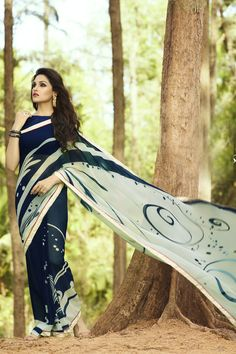 Buy Online Printed Sarees, shari, Navy Blue and Off White Color, Georgette Material, Casual saree, sari, Casual wear, Daily wear, Kitty party wear for women. We have large range of Printed Sarees in our website with the best pricing and unique designs shipping to (UK, USA, India, Germany, UAE, Canada, Singapore, Australia, Mauritius, New Zealand) world wide.