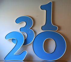 vintage blue numbers