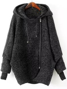 Grey Hooded Long Sleeve Zipper Loose Coat 66.33