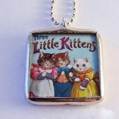 Solder Glass Necklace Reversible Vintage Art by mysweetseptember