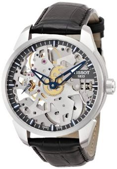 Tissot T-Complication Squelette Skeleton Dial Black Leather Mens Watch T0704051641100 Tissot. This one looks kind of cool!