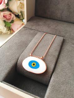 Rose Gold Chain, Gold Chains, Greek Evil Eye Tattoo, Evil Eye Art, Evil Eye Pendant, Evil Eye Necklace, Eyes, Handmade Gifts, Eye Protection