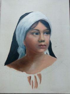 Mujer pintada con oleo