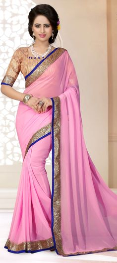 700738: Pink and Majenta color family Party Wear Sarees with matching unstitched…