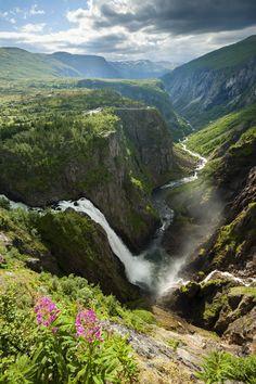 Overview of Voringsfossen waterfall near Eidfjord.