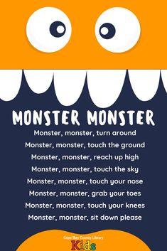 of our favorite storytime rhymes! Perfect for the Halloween season! Kindergarten Songs, Preschool Songs, Preschool Learning, Learning Activities, Preschool Transitions, Monster Activities, Transition Songs For Preschool, Language Activities, Therapy Activities