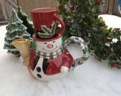 Vintage Fitz Floyd Style Holiday Snowman Teapot