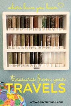 I collect sand from all the places I visit. I love seeing them all lined up on my shelf- they are the perfect souvenirs!
