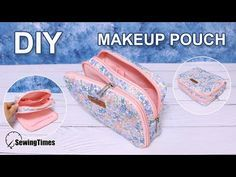 Como fazer nécessaire com bolso frontal - passo a passo Zipper Pouch Tutorial, How To Make Box, Makeup Pouch, Sewing Projects For Beginners, Lining Fabric, Pouch Bag, Diy Makeup, Free Pattern, Youtube