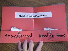 Sight words- math facts- Fold-able to show what you Know/Learned and what you need to know.(use for Math Facts).I could use this for myself too, works soo much better than having two seperate stacks when studying ; Math Resources, Math Activities, Learning Tips, Math Facts, Tables Multiplication, Multiplication Practice, Multiplication Strategies, Math Fractions, Third Grade Math
