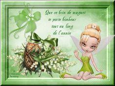 1er Mai Fête du Muguet 2 - Créations Armony Tinkerbell, Congratulations, Creations, Fairy, Cartoon, Attitude, Passion, Messages, Design