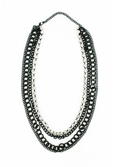 MULTI CHAIN CRYSTAL ACCENTED NECKLACE