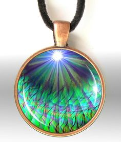 Reiki Necklace Energy Art Jewelry Heart Chakra Pendant Necklace Round Blue Green
