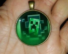 Creeper inspired Minecraft pendant glow in the dark. Christmas Delivery :)