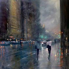 Mike Barr est un peintre qui imagine et reproduit des scènes pluvieuses dans les villes. Des créations proches de la photographie au sein desquelles il arrive à représenter la lumière et l'atmosphère …