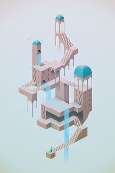 New Isometric Games Art Monument Valley Ideas Isometric Drawing, Isometric Design, Gran Hotel Budapest, Monument Valley Game, Design Club, Games Design, Level Design, Modelos 3d, Game Concept Art