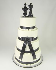 Black Bow Wedding Cake