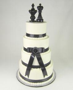 Black Bow Wedding Cake