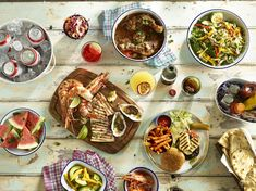 Grilled and BBQ'd array of food. A summery collection of good food Catering, Grilling, Good Food, Presentation, Mexican, Dining, Ethnic Recipes, Trends, Casual
