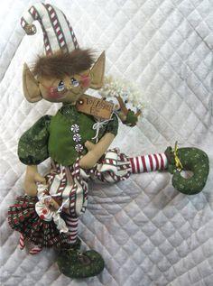 "Primitive Raggedy Christmas 26"" ""Simon The Toy Maker"" LG Elf Pattern 321 | eBay"