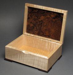 Keepsake Box Walnut Burl and Curly Maple by watswood on Etsy