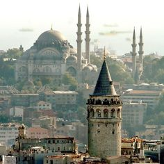 Süleymaniye Mosque over wiew from Galata Tower.  Istanbul.