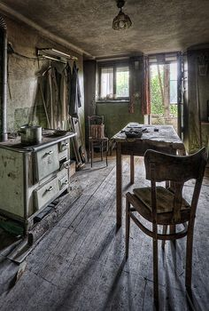 Buckled Floor in Old Farm House Kitchen