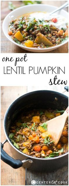 This ONE-POT LENTIL PUMPKIN STEW is a delicious, healthy and easy dinner option for those days when you just want to throw ingredients into a pot and forget about them.