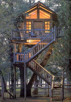 Staircase up to a warmly-lit treehouse