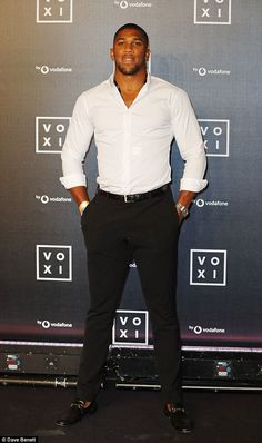 Good looking: Boxer Anthony Joshua put his feud with Amir Khan behind him as she put on a handsome display at the event Gorgeous Black Men, Handsome Black Men, Beautiful Men, Hot Black Guys, Anthony Joshua, Fine Men, Sport Man, Good Looking Men, Sexy Men