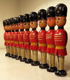 """10 Hand Painted 5"""" Wooden Toy Soldiers Bowling Pins? Folk Art Appeal c1940s"""