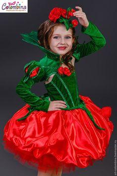 Купить или заказать Костюм розы-187 в интернет-магазине на Ярмарке Мастеров. Карнавальный костюм розы для девочки комплектация: платье, болеро, шляпка размеры 134-146+400…