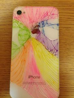 Cracked iPhone colored with highlighters!!