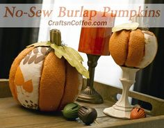 Beautiful, DIY Burlap Pumpkins for fall. And, no sewing! Tutorial on CraftsnCoffee.com