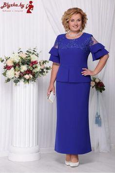 "Ninele dress, cornflower blue (model - Belarusian knitwear in the online store ""Sewing Tradition"" Latest African Fashion Dresses, Women's Fashion Dresses, Gaun Dress, Plus Size Gowns, Mom Dress, Mothers Dresses, Special Occasion Dresses, Dress Patterns, Beautiful Dresses"