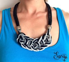 Braided necklace, Silver ribbon, Short necklace, Elegant necklace, Black rope necklace, Fiber necklace, Textile necklace,Fabric necklace