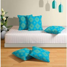 Swayam Printed Turquoise Set of Five Cushion Covers
