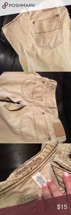 American eagle khaki corduroy (thin) pants size 4 American eagle khaki corduroy ( but thin material) pants size 4. Artist. Good condition! Super comfortable! American Eagle Outfitters Pants Straight Leg