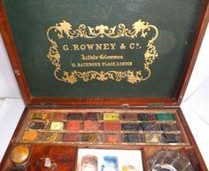 Lge Victorian G Rowney Artists Watercolour Box Paint Palettes etc Antique Paint | eBay