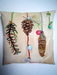 Three Pinecones Hand Painted Pillow 12x12 Christmas Holiday Pillow Accent Gift - Art on a Pillow