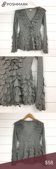 Leifsdottir Anthropologie Gray Petal Cardigan 55% wool, 43% nylon, 3% cashmere.  Leifsdottir from Anthropologie.  Gray button front cardigan with leaf-like patches of fabric. V neckline.  Long sleeve.  Excellent pre-owned condition. Anthropologie Sweaters Cardigans