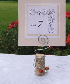 Wine Cork - Wire - Beads Table Card Holder for Weddings and by Baggavond, $2.95
