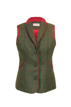 'Holly' women's tweed waistcoat, in a palette of green, sea green and ruby tweed cloth with red trim. A cosy tweed which works and moves with your body. Made in Britain.