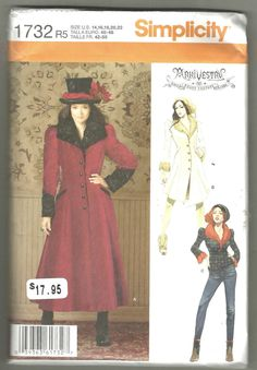 Steampunk Costume Simplicity 1732 sewing pattern 14 16 18 20 22  Arki Vestry