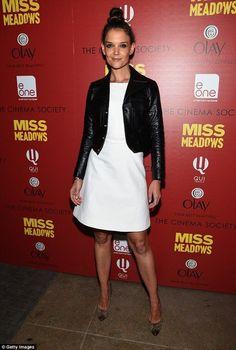 Katie Holmes..  Saint Laurent jacket, white Zac Posen dress, and Proenza Schouler pumps..... - Celebrity Fashion Trends