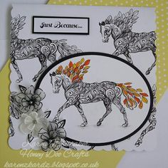 Honey Doo Crafts Majestic Mare and Trio of flowers stamp sets #honeydoocrafts #majesticmare #trioofflowers #dreamsentiment #kuretakezig #vellum #stamping #stamps #cardmaking #cards #handmade