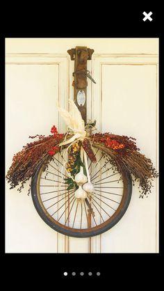 Vintage Bike Rim Repurposed into a Holiday Wreath DIY