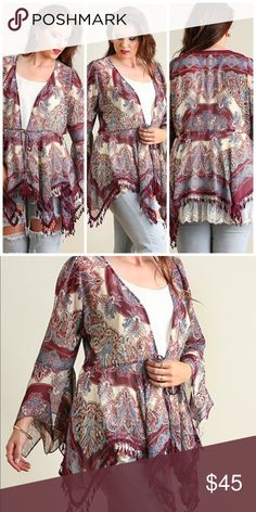 NEW Wine Mix Cardigan Open front print cardigan with tie on waistline Sweaters Cardigans