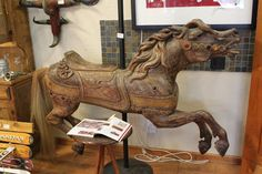 1905 Charles Looff Carved Carousel Horse W Horsehair Tail Original Jewels | eBay