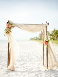 This is the primary example of what we want for the wedding arch. From: simple beach wedding arch Simple Beach Wedding, Floral Wedding, Trendy Wedding, Wedding Ideas, Romantic Beach, Wedding Set Up, Fall Wedding, Wedding Cross, Wedding Themes